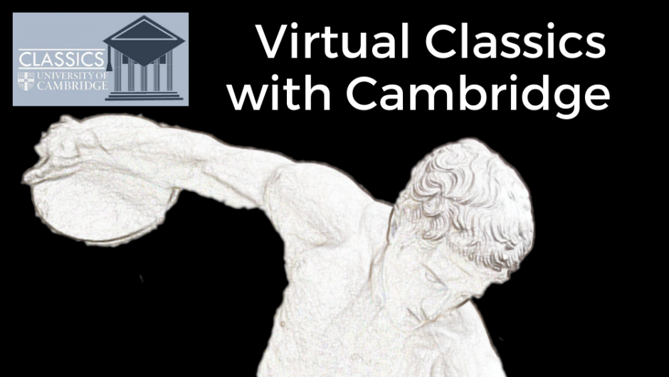 'virtual classics with Cambridge' and statue of discobolos on black background