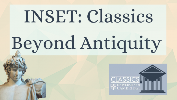 text: inset classics beyond antiquity.  pale yellow and greek background.